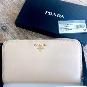Prada Wallet- Saffiano Leather Zip Wallet